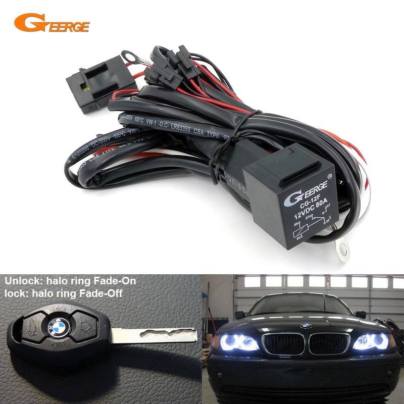 Relay Wiring Harness Kit For BMW E46 E36 E38 E39 E90 E91 E60 E61 Angel Eyes Halo Rings LED Or CCFL W/ Fade-on Fade-off Features