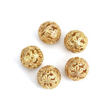 Perles d'espacement en alliage de Zinc, 14mm de diamètre, rondes, mates, dorées, pour bricolage, fabrication de bijoux Trou: 2.1mm, 5 pièces