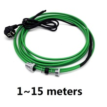 Cable de calefacción autorregulado dentro de la tubería de agua, Cable de calefacción anticongelante de 17 W/m con enchufe europeo, 1 ~ 15m