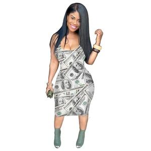 Money Dollar Printed Summer Wrap Dress 2020 Women Low Neck Sleeveless Skinny Dresses Streetwear Backless Knee Length Party Dress