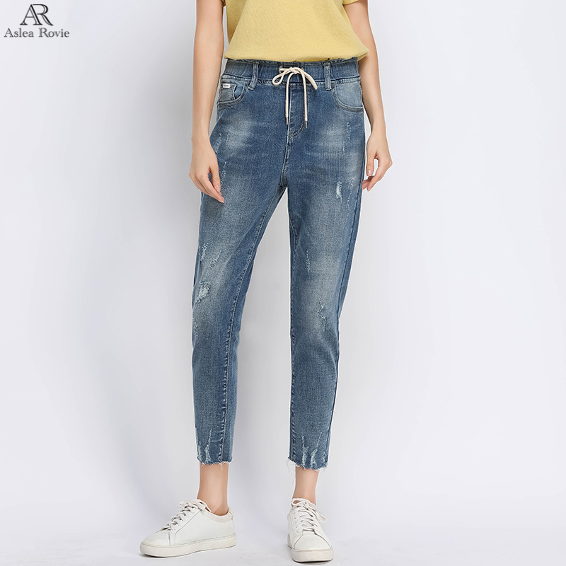 Ripped Jeans for Woman harem High Waist Plus Size Shorts Capri Tie Skinny Female ankle length Denim pencil Pants 6XL 7XL 8XL