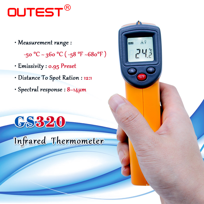 Non contact Digital Laser infrared thermometer GS320 -50~360C (-58~680F) Themperature Pyrometer IR Laser Point Gun 5PCS/lot