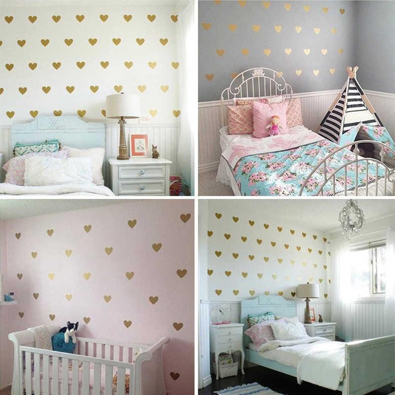 아이 방에 대 한 골드 하트 벽 스티커 침실 거실 홈 장식 DIY 스티커 아기 소녀 벽 전사 술 보육 룸