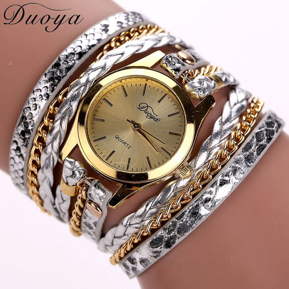 D015 Metal Decorative Circle Wrap Around Rhinestone Analog Quartz Bracelet Watches
