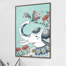 Modern Abstract Elephant Oil Painting Print on Canvas Wall Art Posters Decorative Cuadros Wall Art Pictures For Living Room 4-75 abstract hand painted oil painting on canvas wall art dancing girl posters print wall pictures for living room decor frameless
