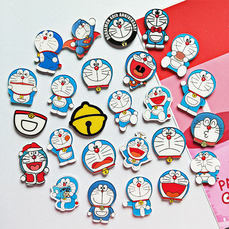 1PC  High Quality Cute Cartoon Acrylic Anime Robot Cat Badges  Pin On The Cloth Decoration For Bags Shoes Clothes