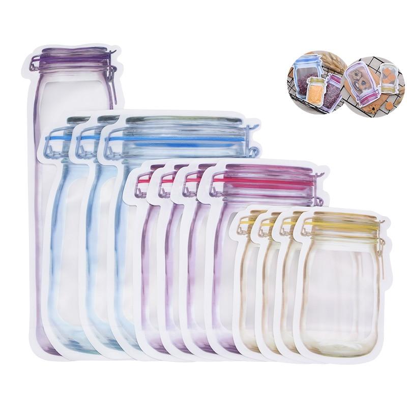 5pcs Reusable Mason Jar Bottles Bags Nuts Candy Cookies Bag Seal Fresh Food Storage Bag Household Snacks Zipper Sealed Organizer