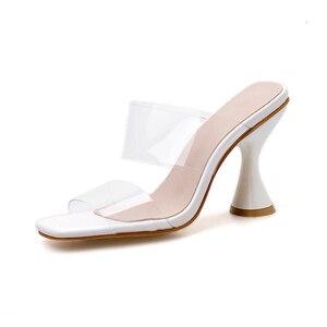 Image 4 - Pzilae moda PVC sandalet kadın kare ayak yüksek topuk ayakkabı şeffaf bant slingback kare ayak rahat yazlık terlik boyutu 42