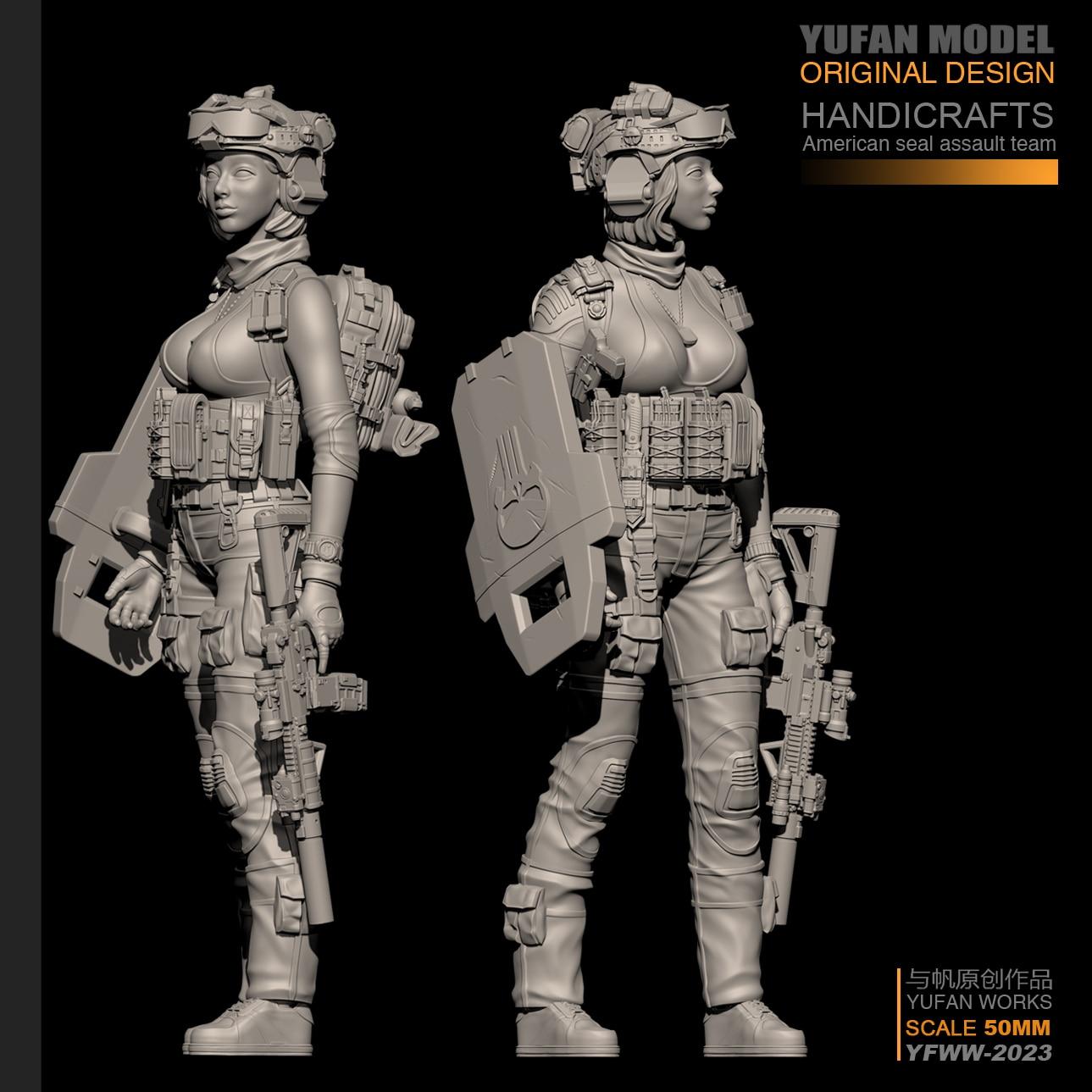 YUFan Model 1/35 Resin Kits Modern Female Soldier Self-assembled YFWW35-2023