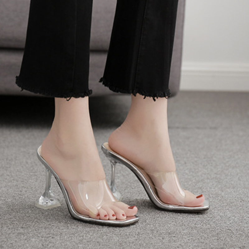 Women Sexy Sandals High Heels Shoes Ladies Fashion Slippers Plus Size Square Toe Transparent Pumps New Female Summer Comfort 3