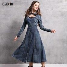 [OuMo] brand high quality  Denim Dress women's Washed denim Vintage long sleeve dress Female 2018 clothing