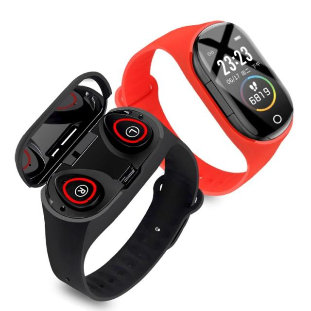M1PRO UI Heart Rate Sleep Monitor Fitness Smart Bracelet with Bluetooth Earphone for iOS Android TWS mini in-ear headphones