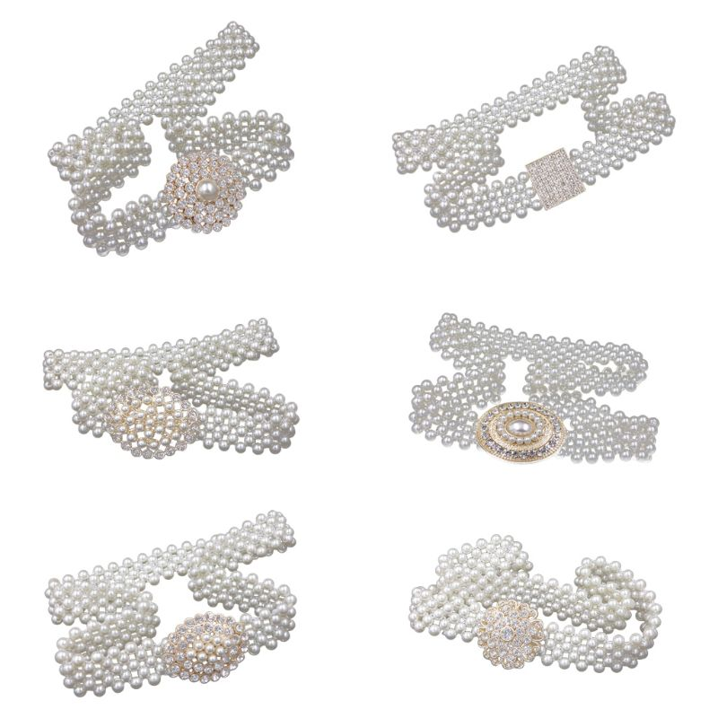 Women Bridal Imitation Pearl Stretch Waist Belt Chain With Rhinestone Buckle Wedding Dress Gown Decorative Jewelry Cummerbunds