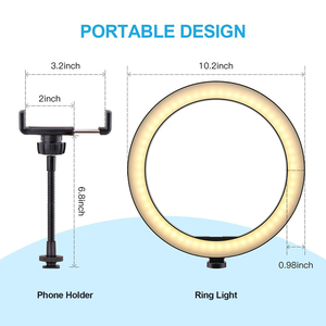 Image 2 - 26cm/10inch Ring Lamp Camera Ring Light Stand Cell Phone Holder For Live Stream/makeup/youtube Video/photography