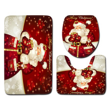 Carpet Red No Floor-Mat Party-Supplies Toilet-Three-Piece Gift Christmas-Snowman Bathroom