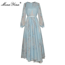 Dress Spring Lantern-Sleeve Moaayina Fashion-Designer Asymmetrical Vintage