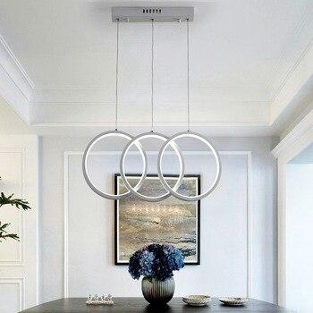 Moderne Hanglamp Eenvoudige Ontwerp Ringen Led Verlichting Armatuur Opknoping Lichten Afstandsbediening Dimbare Eetkamer Licht AC100-240V
