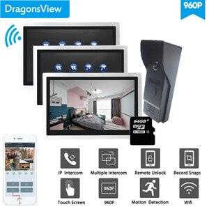 Dragonsview 10 дюймов Wifi беспроводной видеодомофон IP видео дверной звонок камера 960P HD 3 монитора и 1 дверной Звонок