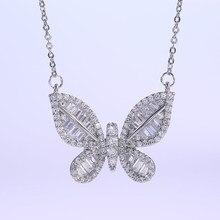 Kpop женское ожерелье с подвеской в виде бабочки с цирконием эстетическое колье Элегантные вечерние ювелирные изделия оптом/Прямая поставка