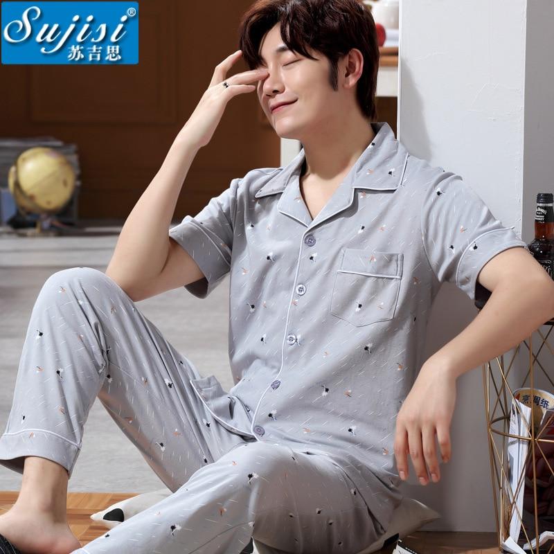 Calças de Manga Primavera e Verão Pijamas Masculinos Curta Lapela Algodão Simples Não Impressão Conforto Cor Sólida 2020