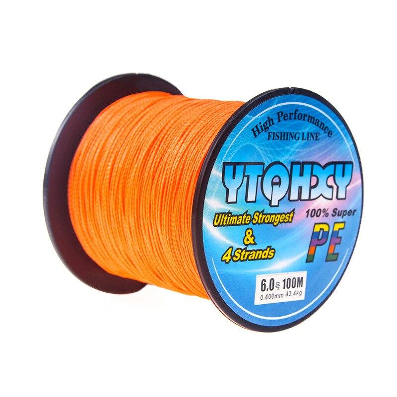 4 серии, 100 метров, сильная Конская леска, основная леска, PE леска, ткацкая рыболовная снасть, кайт леска, многофиламентная рыболовная леска - Цвет: Оранжевый