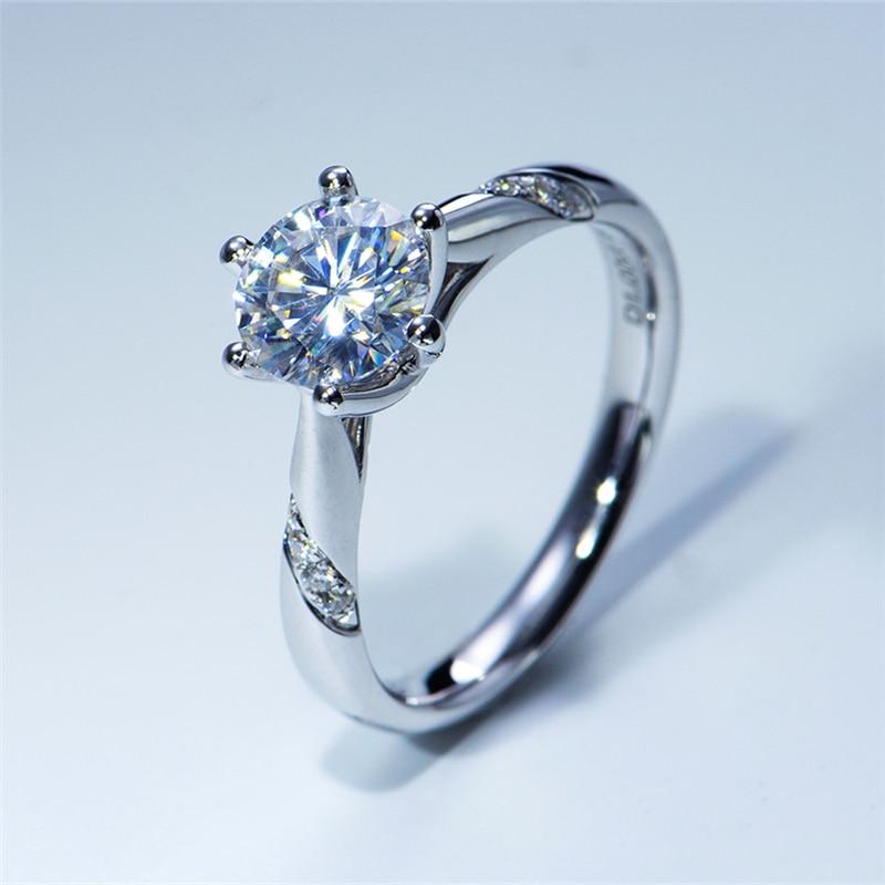 טהור 18K לבן זהב 1ct 2ct 3ct בחיתוך עגול מבריק Moissanite טבעת קידוח שורה אחת טבעת אירוסין יום נישואים טבעת עבור נשים