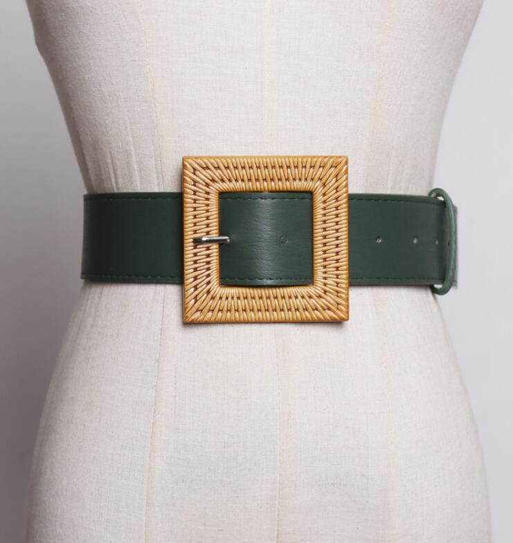 Women's Runway Fashion Pu Leather Cummerbunds Female Dress Coat Corsets Waistband Belts Decoration Wide Belt R1778