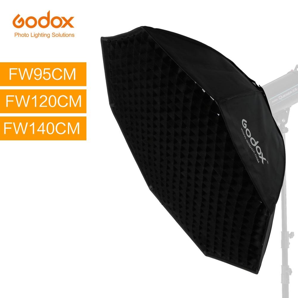 Godox 95 см 120 см 140 см студия восьмиугольник сотовый софтбокс с решеткой софтбокс с отражателем с креплением Bowens для студии стробоскоп вспышка ...