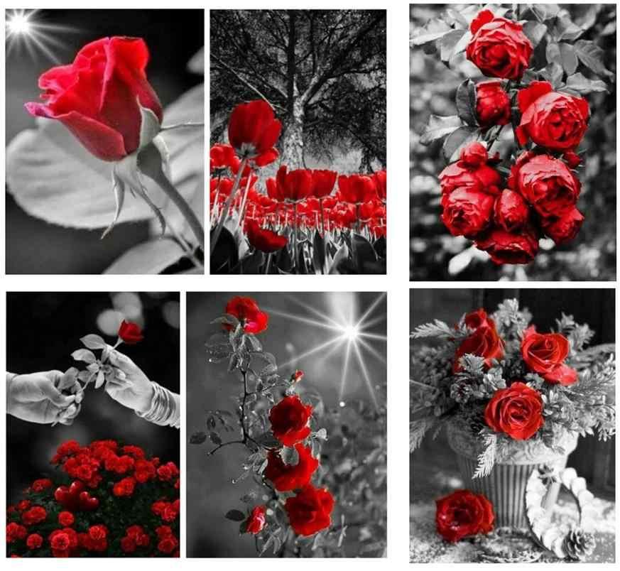Nieve Rosa diamante pintura roja bordado de diamante con flores full diamond dots poster puzle picture diamand mosaico pegatinas de pared