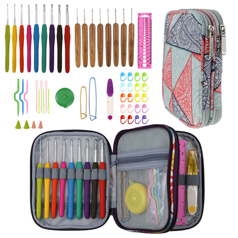 Image 4 - Geometric Style Storage Bag With Crochet Hook Set For DIY Weave Clothes Empty Yarn Bag For Crochet Hooks And Knitting Needles-in DIY Knitting from Home & Garden