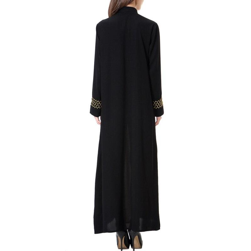 Turkish Arab Patchwork Loose Casual Long Dress Women 2019 Autumn Muslim Abaya Vintage ISlamic Clothing Long Sleeves