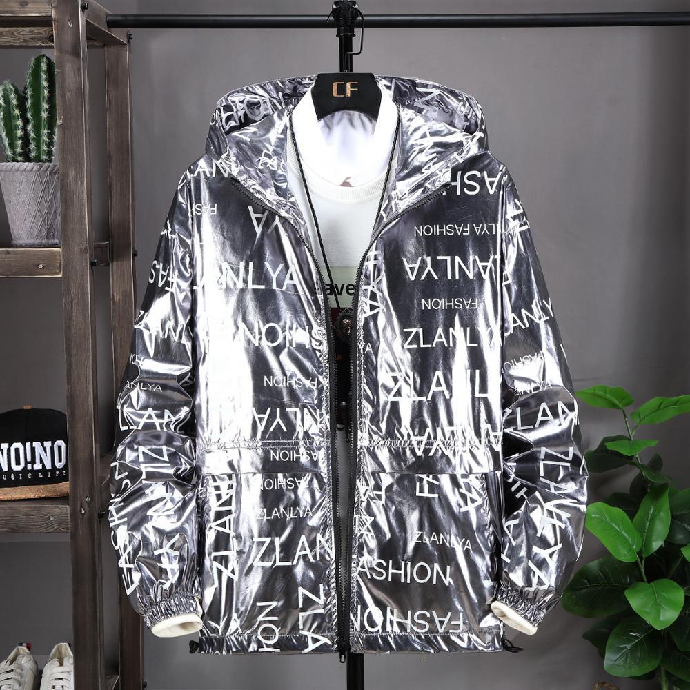 Glossy Jacket Men Gold Silver Color Spring Autumn Jackets Hip Hop Streetwear New Fashion Trend Outerwear Windbreaker Coa