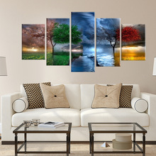 Canvas Prints Painting Wall Art 5 Pieces Colourful Leaf Trees Poster Landscape Pictures Home Decor HD Art Print Poster canvas painting modular wall art frame home decor 5 pieces new york city night scene pictures hd print brooklyn bridge poster