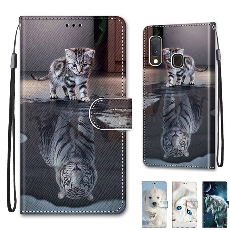 For <font><b>Samsung</b></font> <font><b>Galaxy</b></font> <font><b>A20E</b></font> <font><b>SM</b></font>-<font><b>A202F</b></font> Fundas Magetic Flip Leather Stand Wallet Cover Cases for <font><b>Samsung</b></font> <font><b>A20e</b></font> Case Coque image