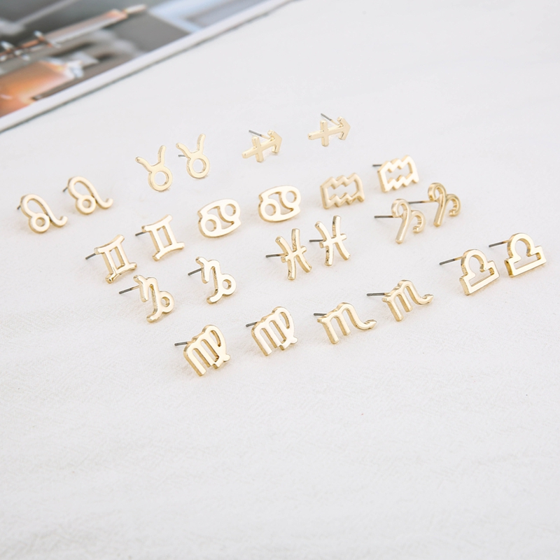 Todorova 12 Constellation Stud Earrings for Women Zodiac Sign Jewelry Astrology Leo Libra Aries Earrings Birthday Gifts