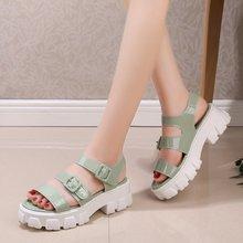 цены Sports sandals female 2020 summer new students wild beach sandals tide sponge cake thick bottom open toe Roman shoes Z908