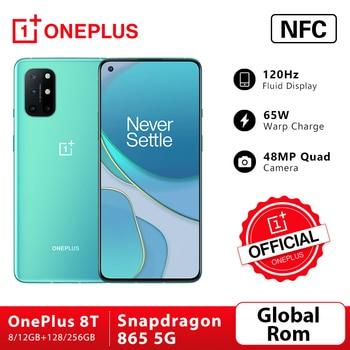 Global Rom OnePlus 8T 8 T 8GB 128GB Snapdragon 865 5G Smartphone 120Hz AMOLED Fluid Screen 48MP Quad Cams 4500mAh 65W Warp