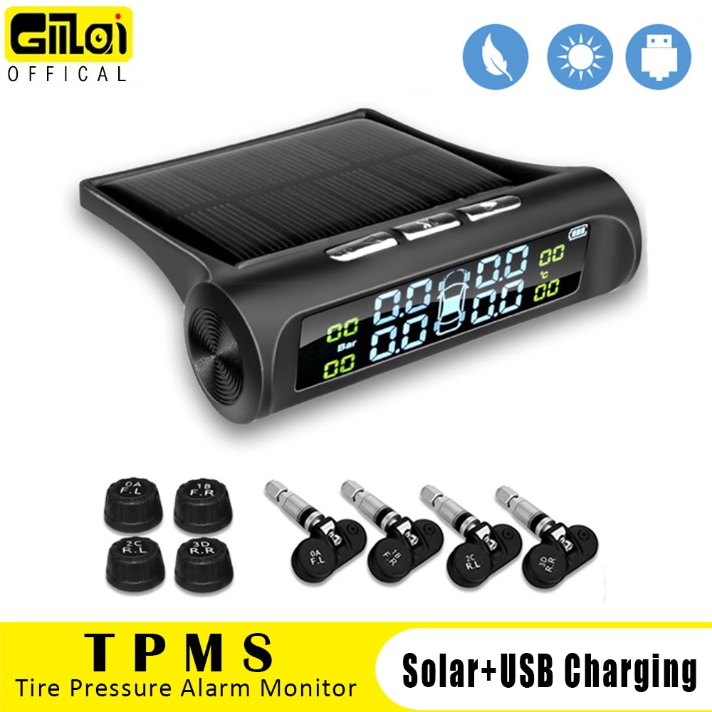 Gmai Solar Power TPMS Car Tire Pressure Alarm Monitor System Auto Security Alarm Systems Tyre Pressure Temperature Warning
