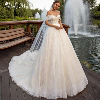 Adoly Mey Romantic Boat Neck Button Lace A-Line Wedding Dresses 2020 Luxury Beaded Appliques Chapel Train Princess Wedding Gown