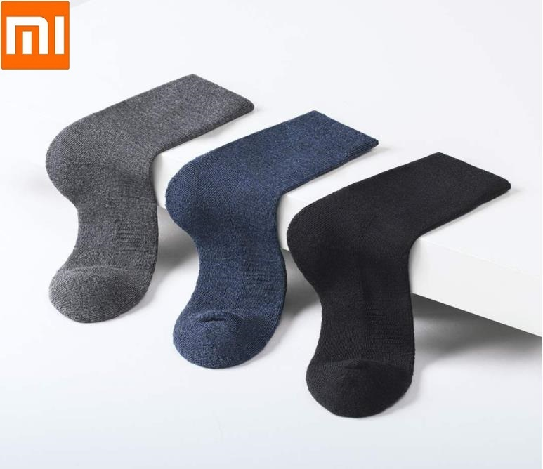 Xiaomi  90 Autumn Winter Men's Warm Wool  Tube Man Socks Casual Middle Tube Men Dress Socks High Elasticity  Breathable