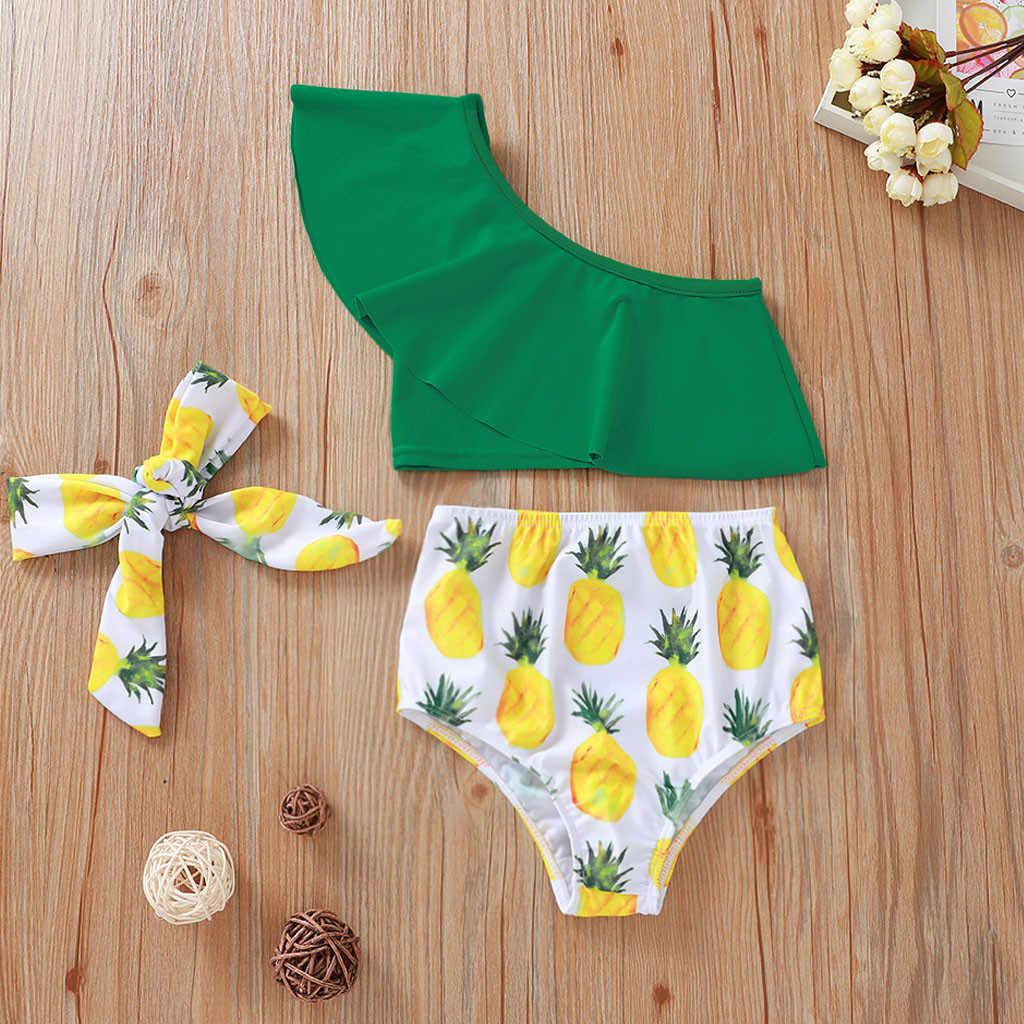 Novo bebê roupa de banho da criança crianças bebê abacaxi impressão verão plissado maiô 3 pcs bikini outfits para meninas frete grátis