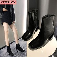 2019 winter new women's boots fashion wild short boots thick with round head black sexy side zipper boots patent leather shoes 2017 autumn and winter new round head with zipper leather half leather pu boots female shoes