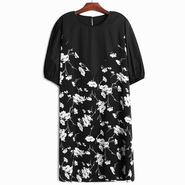 [EAM] Women White Pattern Printed Big Size Midi Dress New Round Neck Long Half Loose Fit Fashion Tide Spring Summer 1X304