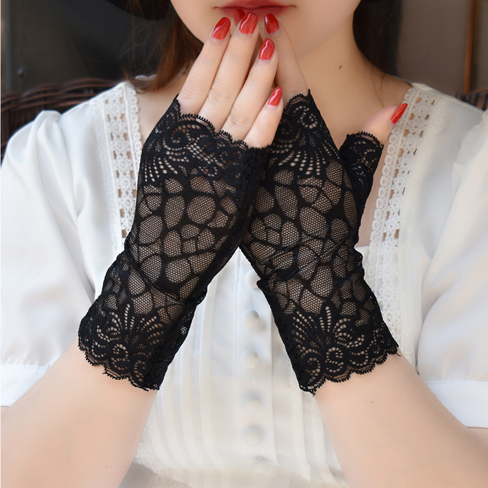 Fingerless Gloves Women Dance Sexy Lace Gloves Ladies Half Finger Fishnet Gloves Heated Mesh Mitten Handschoenen