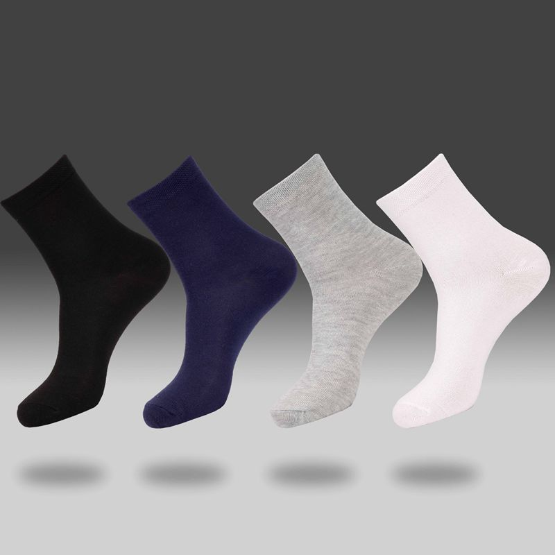 1 Pair Of Men's All Cotton Business Solid Color Socks Solid Color Business Men's Socks Black / White / Gray / Dark Blue