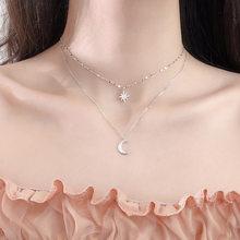 SIPENGJEL – collier Double couche avec pendentif étoile et lune, Simple et délicat, minimaliste, à la mode, bijoux pour femmes, 2021