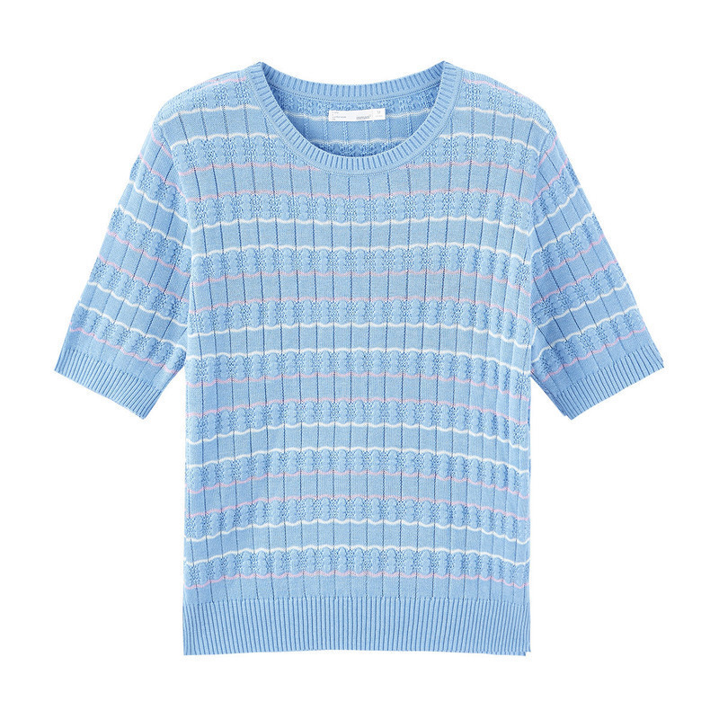 Image 5 - INMAN 2020 Spring New Arrival Literary Round Collar Colors Jacquard Weave Stripe Loose Pullover Short Sleeve KnitwearPullovers   -