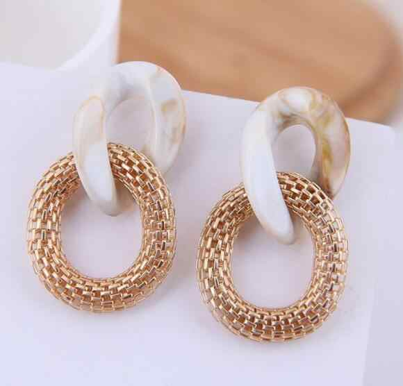 Bohemia Resin Akrilik Drop Anting-Anting Wanita Anting-Leopard Cetak Round Menjuntai Anting-Anting BoHo Fashion Wanita Perhiasan Anting-Anting 2019 Baru