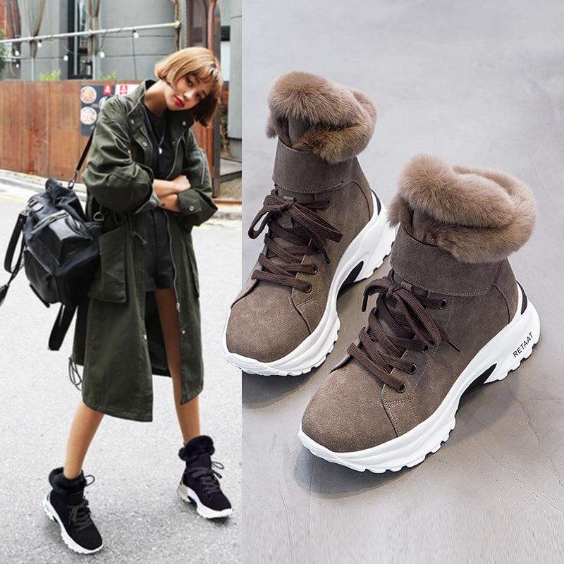 Koovan bottes femmes 2019 nouveau hiver neige bottes courtes pour filles femme en cuir véritable court mat Plus velours coton chaussures