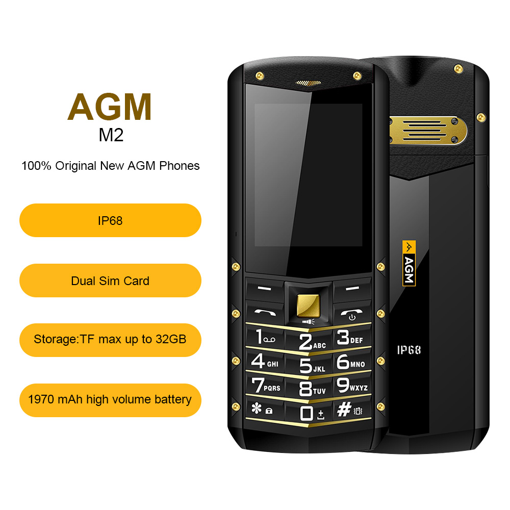 AGM M2 IP68 Rugged Waterproof Shockproof Phone GSM Dual SIM Card Bluetooth FM Old man Student Child Business